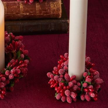"3"" Beaded Berry Candle Ring Set/2"
