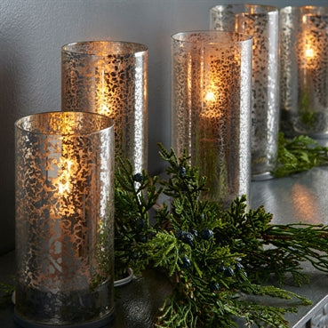 Lighted  Antiqued Pillar Candle Strand