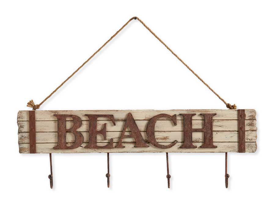 Wooden Embossed beach Sign with Hooks
