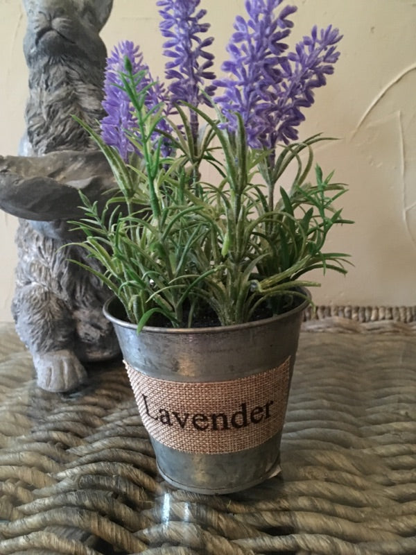 Faux Lavender Plant in Metal Container