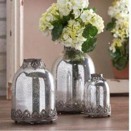 Mercury Glass Bottle Candleholders w/ Metal Filligree Trim Set/3