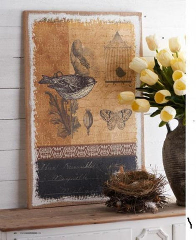 35 Inch Brown Burlap Canvas Print w/ Bird
