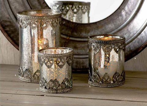 3.5 Inch Mercury Glass Candleholder with Metal Filigree Trim - On Backorder