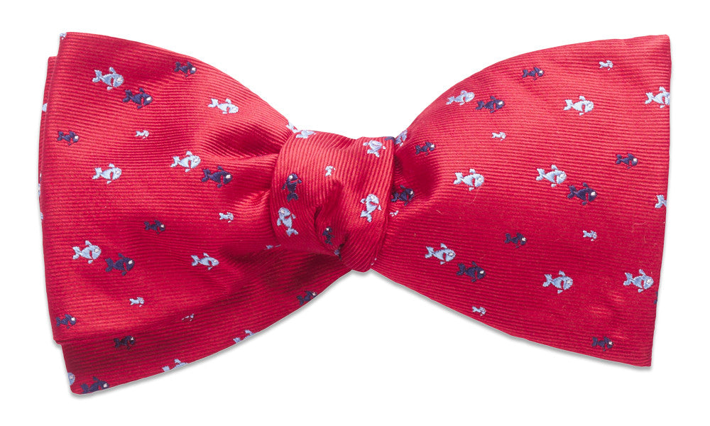 Fish creek red self tie bow tie shop high quality for Fish bow tie