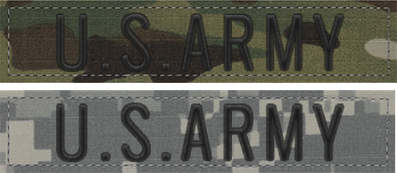 Featuring ACU Digital name tapes and OCP scorpion name tapes for the US Army