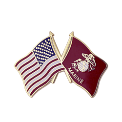 "American and Marine Corps Crossed Flags 1"" Lapel Pin"