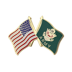 "American and U.S. Army Cross Flags 1"" Lapel Pin"