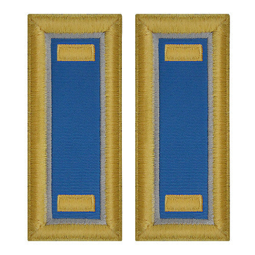O-1 2nd Lieutenant Army Dress Blue Shoulder Board Rank (Female Size) - MILITARY INTELLIGENCE