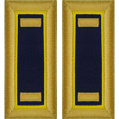 O-1 2nd Lieutenant Army Dress Blue Shoulder Board Rank (Male Size) - CHEMICAL