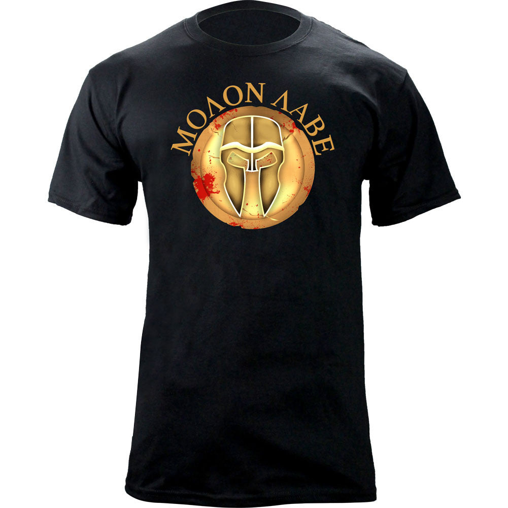 Molon Labe Shield T-Shirt - Gold on Black