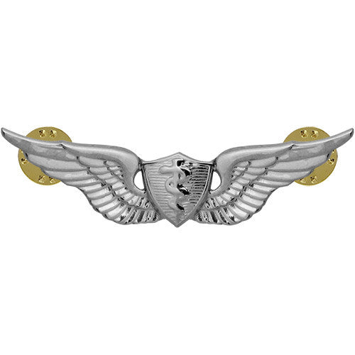Army Basic Flight Surgeon Badge - Mirror / Chrome Finish
