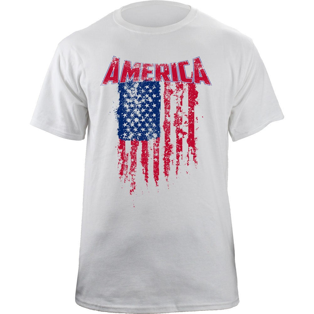 Tattered American Flag T-Shirt - White