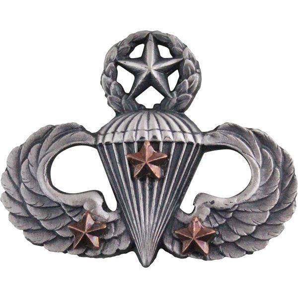 Army Combat Parachutist Badge Master - 3rd Award - Silver Oxidized