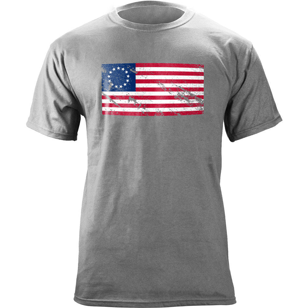Vintage Betsy Ross Flag Distressed T-Shirt - Heather Grey
