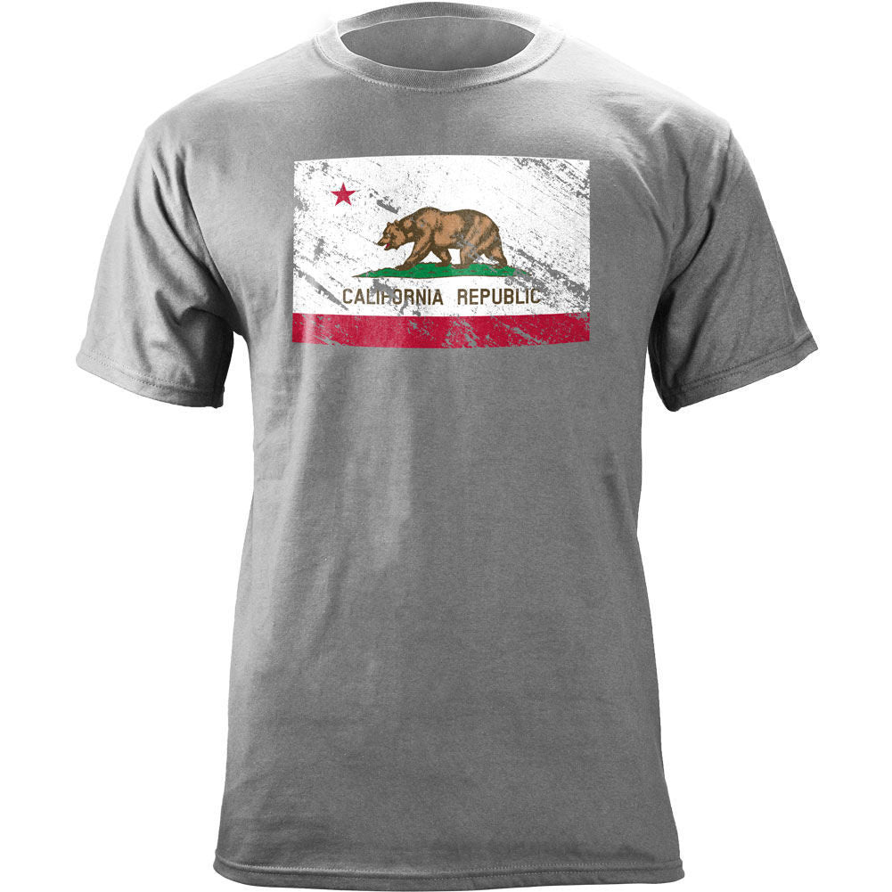 Vintage California Republic Flag Distressed T-Shirt - Heather Grey