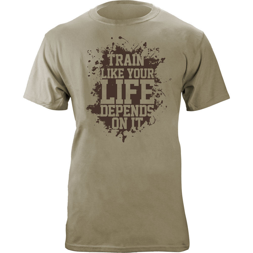 Train Like Your Life Depends On It T-Shirt - Sand Brown