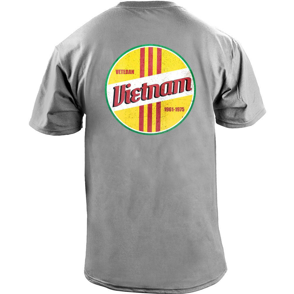 Retro Vietnam Service T-Shirt - Heather Grey - Back