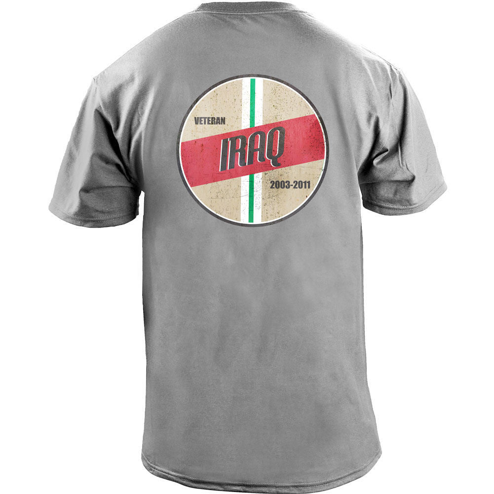 Retro Iraq Campaign Veteran T-Shirt - Heather Grey - Back