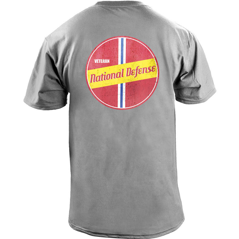 Retro National Defense Service T-Shirt - Heather Grey - Back