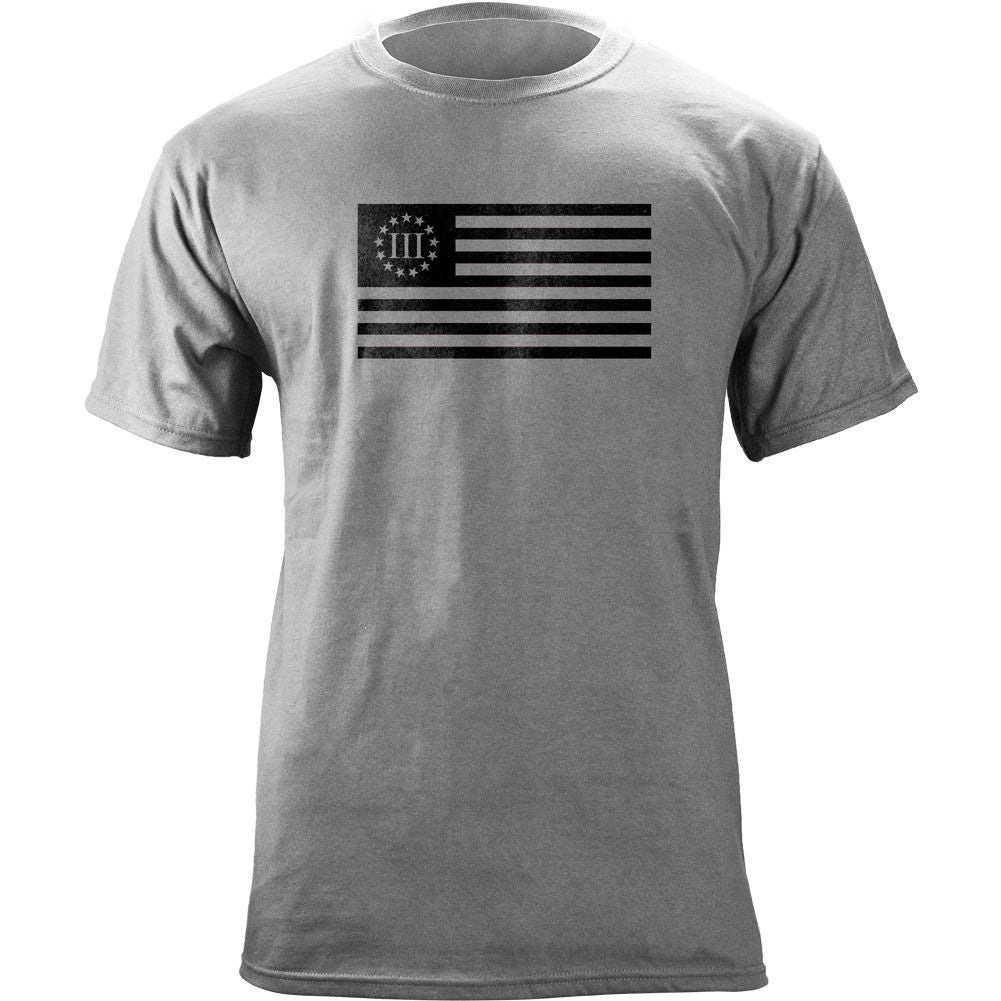 Molon Labe Betsy Ross Flag T-Shirt Black on Gray