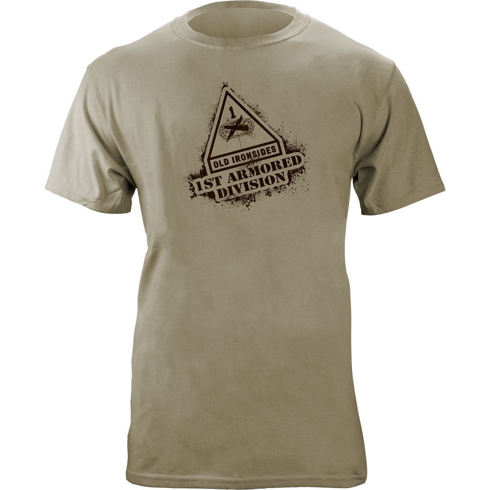 First Armored Division Stencil T-Shirt Sand Brown