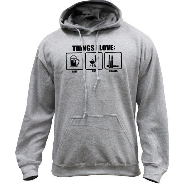 Things I love Beer BBQ Bullets Molon Labe Humor Pullover Hoodie Sweatshirt