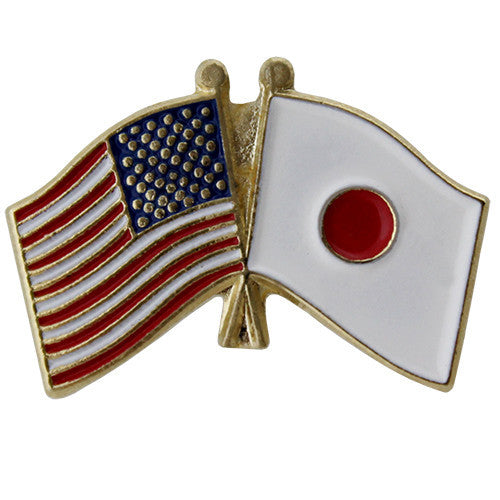 United States and Japan Crossed Flags Lapel Pin