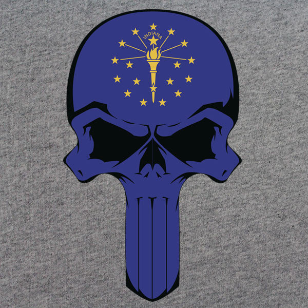 Indiana State Flag Skull T-Shirt