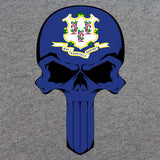 Connecticut State Flag Skull T-Shirt