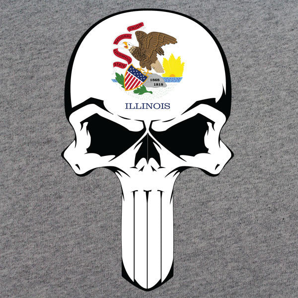 Illinois State Flag Skull T-Shirt