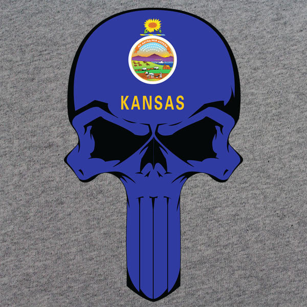 Kansas State Flag Skull T-Shirt