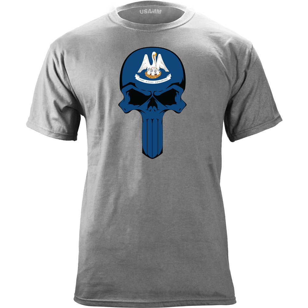 Louisiana State Flag Skull T-Shirt