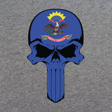 North Dakota Flag Skull T-Shirt