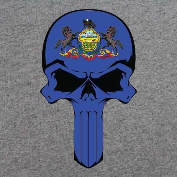 Pennsylvania State Flag Skull T-Shirt