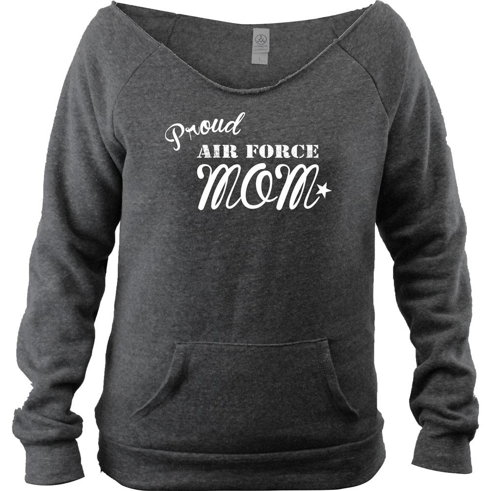 Proud Air Force Mom Wide Neck Fleece Sweatshirt