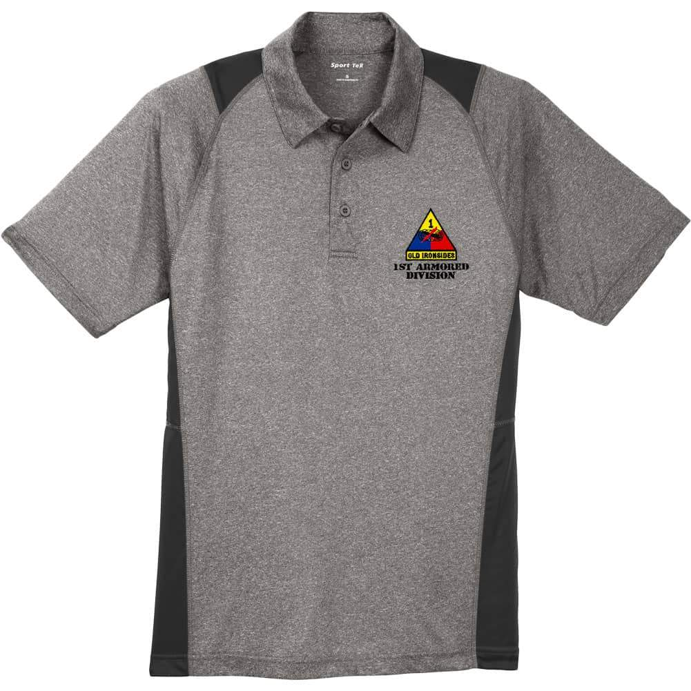 Amy Divisions Vintage Heather Black Golf Polo