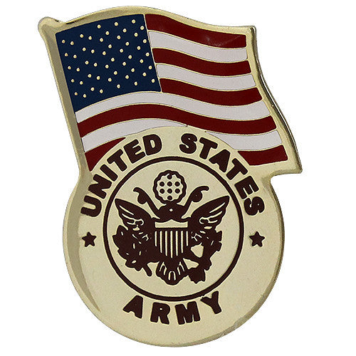 United States Flag With Army Emblem Lapel Pin