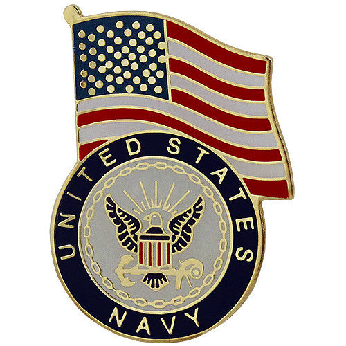 United States Flag With Navy Emblem Lapel Pin