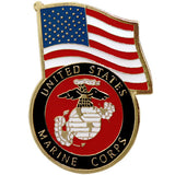United States Flag With Marine Corps Emblem Lapel Pin