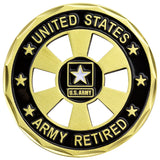 U.S. Army Retired Wheel Cut Out Coin