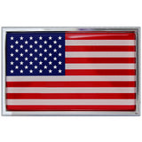 American Flag Chrome Auto Emblem