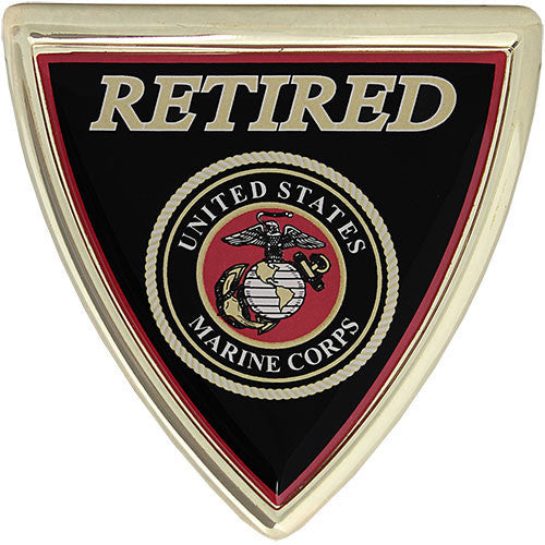 U.S. Marine Corps Retired Shield Chrome Auto Emblem