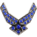 Air Force Hap Arnold Wings with Blue Gemstones 3/4