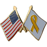 American and Yellow Ribbon Crossed Flags 1
