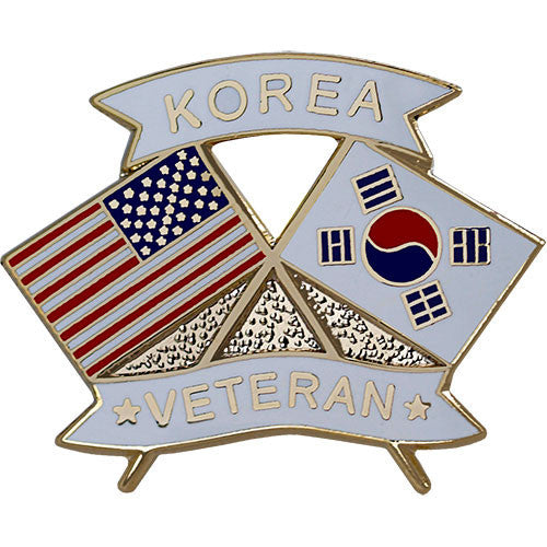American and Korea Veteran Crossed Flags 1 1/8