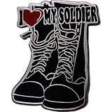 I Heart My Soldier on Black Combat Boots 3/4