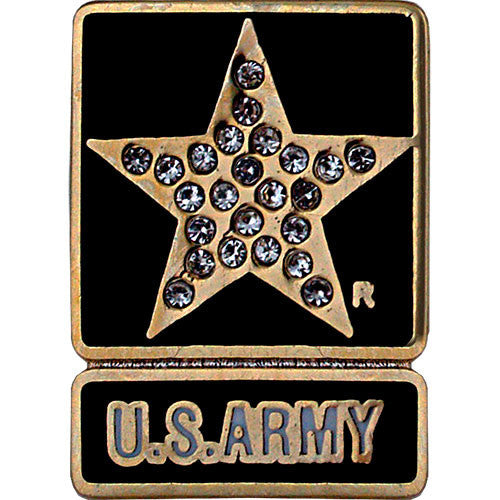 Army Star Logo with Clear Gemstones 3/4