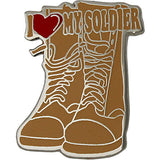 I Heart My Soldier on Desert Tan Combat Boots 3/4