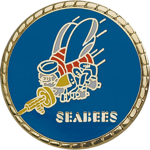 Seabee Logo with Gold Border 7/8