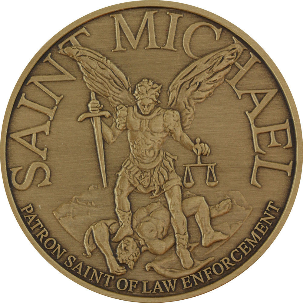 Saint Michael Custom Engravable Challenge Coin - Front